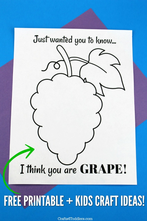 photograph about Printable Kid Crafts known as I believe that yourself are GRAPE!\