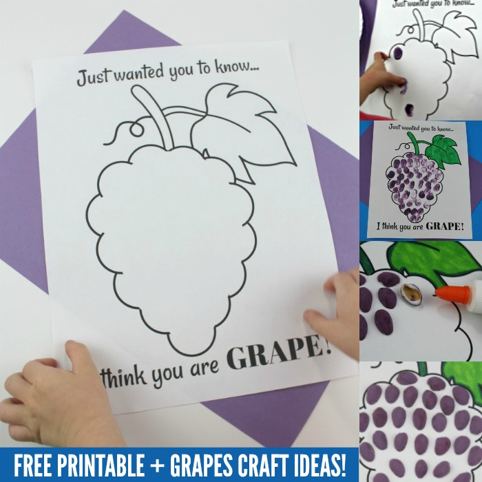 graphic relating to Printable Craft for Kids named I consider yourself are GRAPE!\